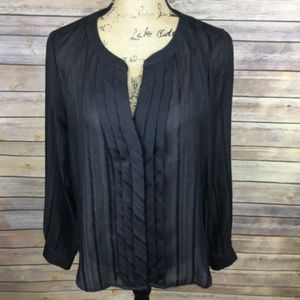 LOFT Sz Medium Black Pleated Blouse Long Sleeve